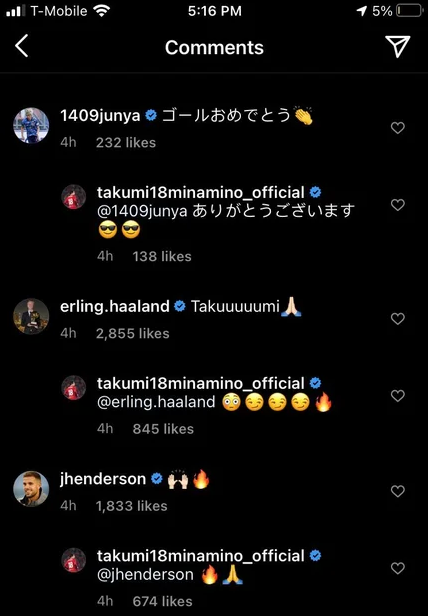 Erling Haaland in the comments of Minamino's recent instagram post