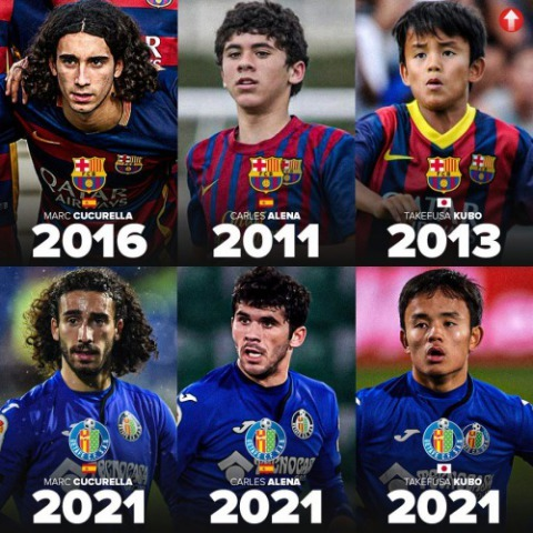 Marc Cucurella (22), Carles Aleñá (23) and Takefusa Kubo (19) from La Masia to playing together for Getafe CF