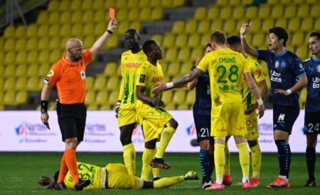 Hiroki Sakai (Marseille) straight red card against Nantes