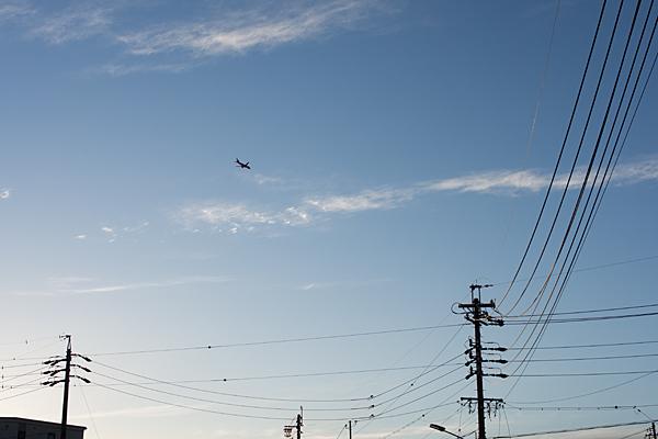 夕空と飛行機