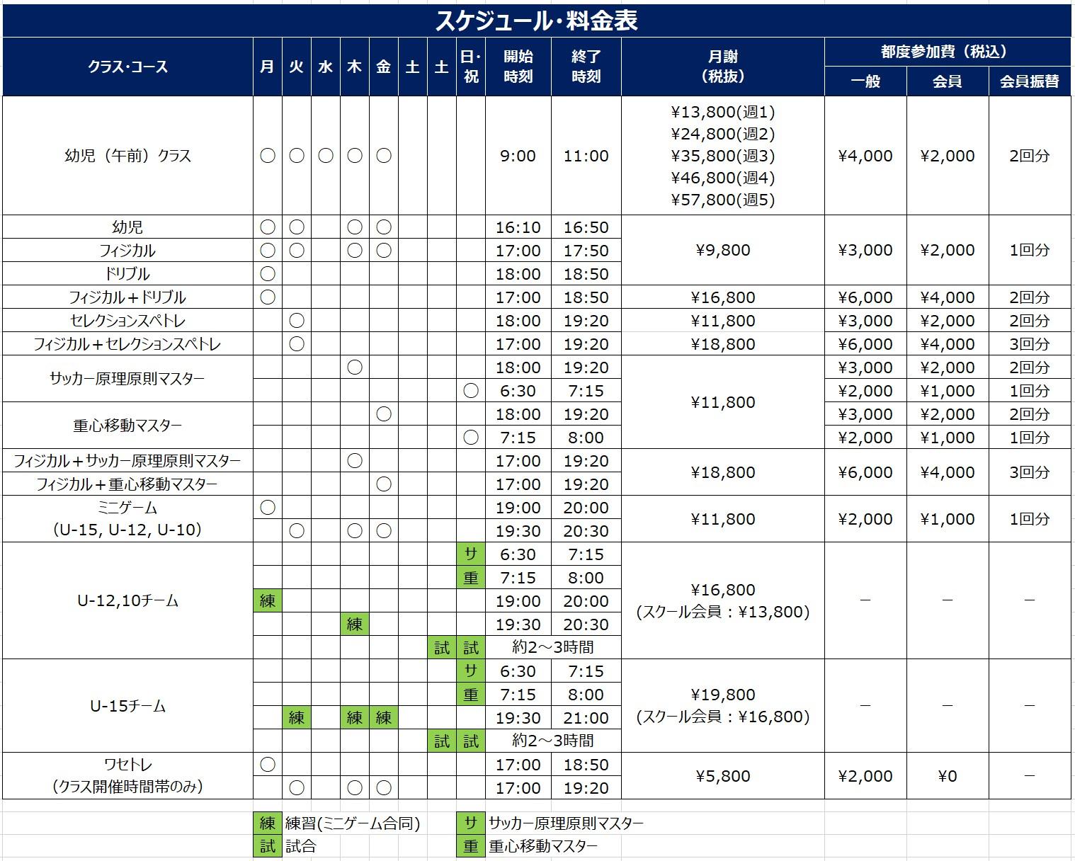 全クラススケジュール_料金表16