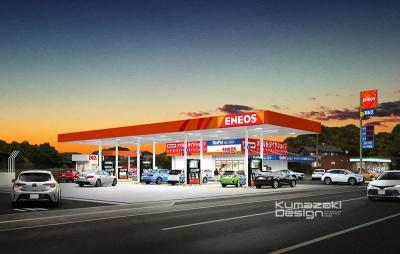 ガソリンスタンド GS ENEOS 外観パース 手書きパース 手描きパース フォトショップ photoshop