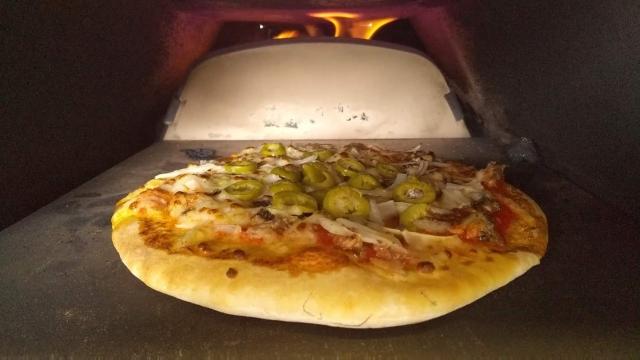 簡易ピザ窯の中、これはバジル?