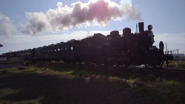 逆光、真岡鐵道、C12 のシルエット