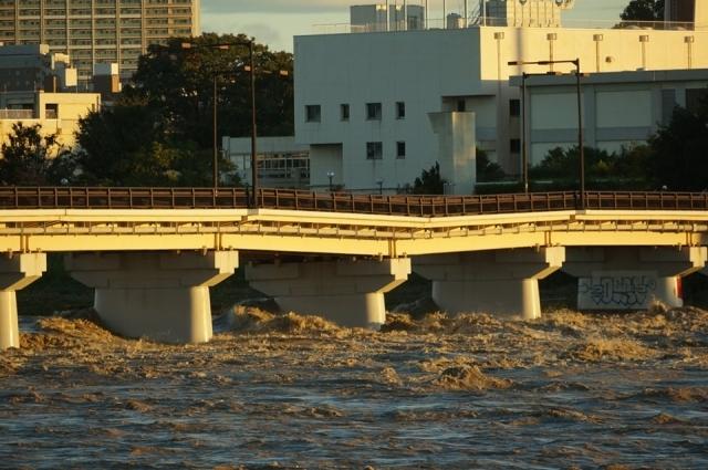 台風19号で橋脚が傾いた日野橋