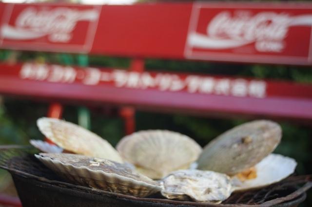 ホタテや牡蠣も焼きます