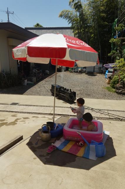 プールから小さな汽車を眺める