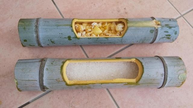 さて火にかけますよ、竹飯盒