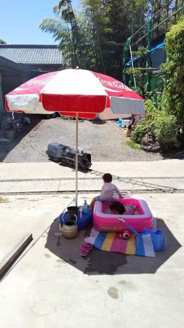 初夏の水遊びとライブスチーム