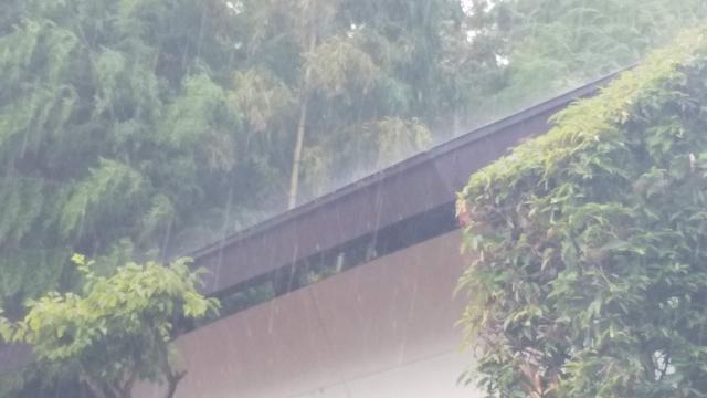 蔵の屋根に当たる夕立の雨