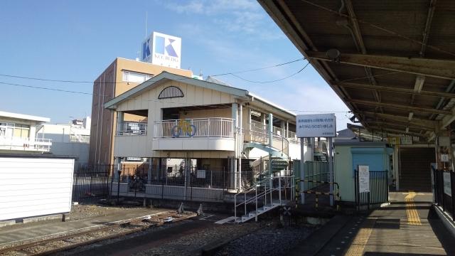真岡鐵道のホームの朝