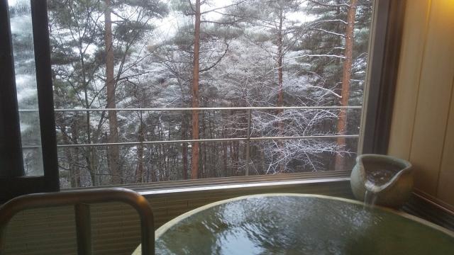 ファインビュー室山の特別室の温泉から眺める雪