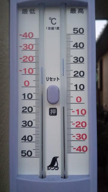 気温計、マイナス2℃だ!