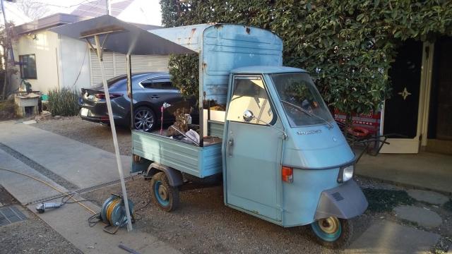 現在製作中のベスパカーを使ったオート三輪屋台