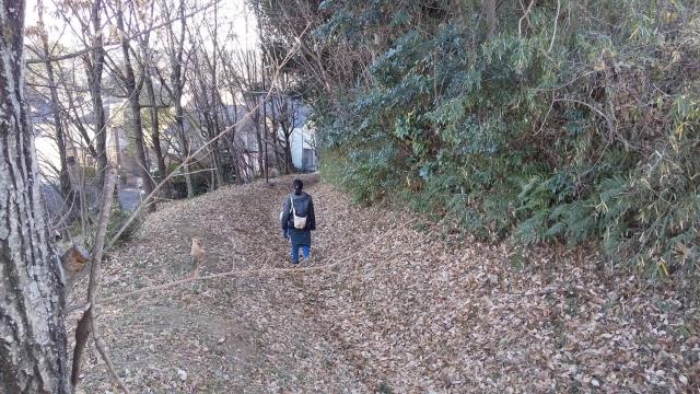日野緑地の昔ながらの道を行く