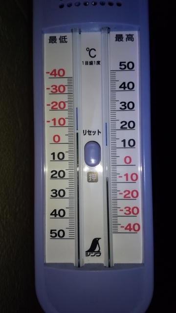 2021年1月10日、日野市の旧農村地帯の最低最高気温
