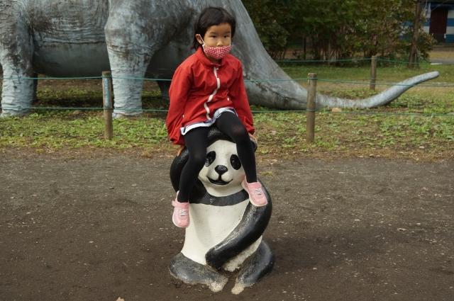 コンクリパンダに乗る娘