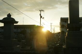 三本松の墓地より日の出