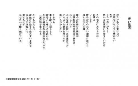 佐賀新聞読者文芸2021年01月一席「青い果実」(1)