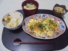 ブログ6栗ご飯と帆立玉子