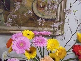 ブログ2ガーベラ&桜