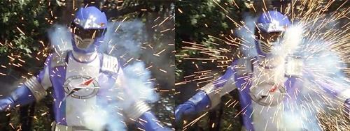 戦隊ヒーロー、ボウケンブルーが風のシズカの銃撃にやられる