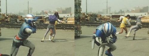 メタルヒーロー「宇宙刑事シャイダー」が磁力でスーツを狂わされてやられる。