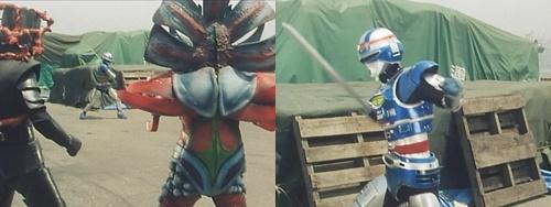 メタルヒーロー、宇宙刑事シャイダーが敵の強力な磁気攻撃にやられてレーザブレードが使えない