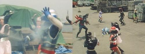 宇宙刑事シャイダーが敵の磁気攻撃にやられてピンチに陥る。