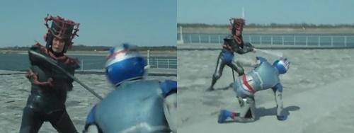 メタルヒーロー、宇宙刑事シャイダーが敵の磁気攻撃にやられてピンチに陥る。
