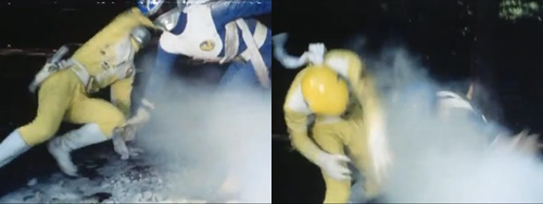 戦隊ヒーロー、ゴーグルブルーとゴーグルイエローが冷凍ガスにやられて凍らされてしまう