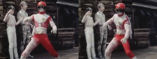 戦隊ヒーロー、ゴーグルレッドが冷凍ガスにやられる。
