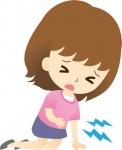 腹痛で倒れこむ女性のイラスト