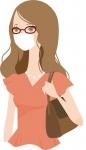 マスクをする半袖の女性のイラスト