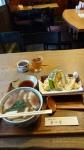 どうしんやの鴨南蛮と天ぷら盛り合わせ