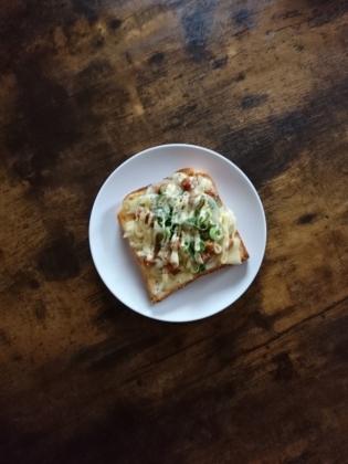 20201230豚角煮葱チーズマヨトースト