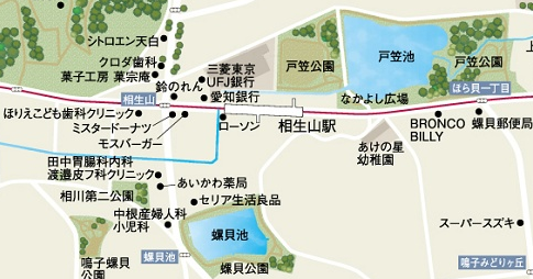 戸笠池と螺貝池の地図