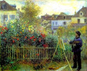 アルジャントゥイユの庭で制作するモネ