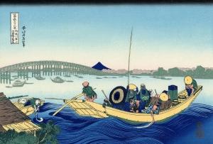 御厩川岸ゟ(おんまやがしより)両國橋(りょうごくばし)夕陽見(ゆうひみ)