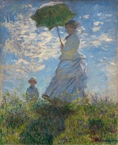 散歩、日傘をさす女性