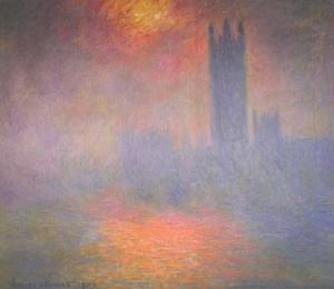 ロンドン、国会議事堂:霧に透けて見える太陽