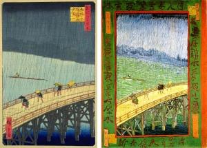 歌川広重の浮世絵(左)と、ゴッホによる模写(右)