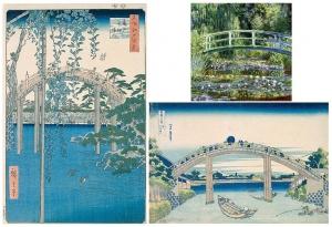 左:広重 右下:北斎 右上:モネの構図の類似例