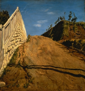 道路と土手と塀(切通之写生)