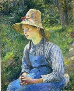帽子を被った農家の若い娘