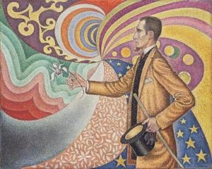 七色に彩られた尺度と角度、色調と色相のリズミカルな背景のフェリックス・フェネオンの肖像