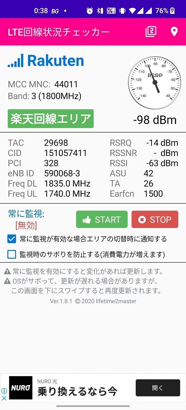 LTE回線状況チェッカーKDDIの電波@神戸某所